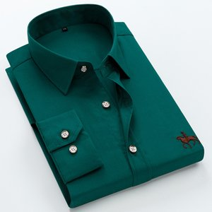Big size 6XL 100% Cotton Long Sleeved Embroidered Men Shirt Comfortable Slim Men's Dress Shirt 5XL Plus size High Quality Cheap