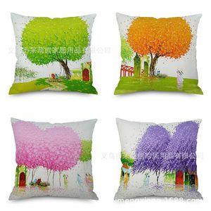 Northern Europe Concise Scenery Oil Painting Pillow Cartoon Tree Flax Cushion Set Imitate Hemp Back Cushion Pillow Factory