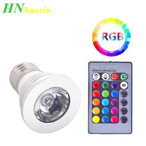 원격 컨트롤러와 램프 스포트 라이트를 변경 HaoXin 3W 높은 전원 E27 RGB LED 전구 빛 (16) 컬러 85-265V 110V 220V Lampada