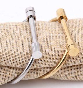 Mode Enfashion Wohnung Fessel-Schrauben-Armband-Goldfarben-Edelstahl-Armband-Armbänder für Frauen Armreif Schmuck Pulseiras