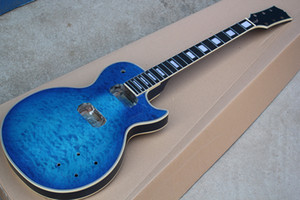 Factory Custom Blue Electric Guitar Kit(Parts) with Clouds Maple Veneer,DIY Semi-finished Guitar,Offer Customized