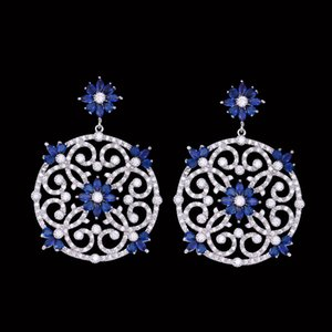 European and American fashion luxury Zircon Earrings retro hollow palace bridal dress earrings with sparkle temperament
