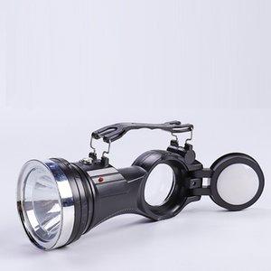Hot Transfronterizo más nuevo solar cargado LED linterna acampar al aire libre multifunción COB iluminación linterna de mano lámparas solares lámparas