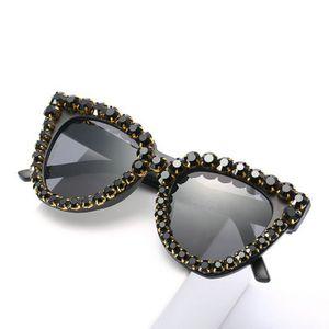Crystal diamond glasses black Long Keeper 2018 International Women Brand Fashion Cat Eye Sunglasses Ladies Crystal Diamond 2020
