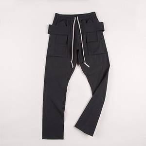 Pantalones de calidad superior Ro estilo cargo Hombres Mujeres bolsillos chándal pantalones de Hip Hop con cordón Hombres Pantalones Joggers