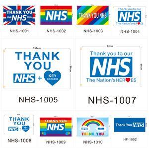 شكرا NHS علم المملكة المتحدة المملكة المتحدة 2020 الطباعة الرقمية 90 * 150cm وأعلام راية البوليستر الرئيسية راية أعلام T3I5758