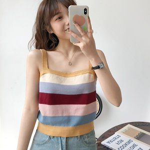 019 new Causal Knitted Striped Cami Tops Summer Beach Wear Sexy Vest Female Fitness Sleeveless Basic Camisole T200706