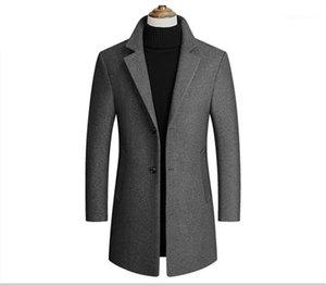 Manga capas de foso para hombre Outwear otoño primavera con solo pecho de solapa Moda Cuello sólido Outwear larga para hombre
