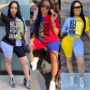 Women BLACK Letters Patchwork Designer Tracksuit Crew Neck Short Sleeve T shirt Shorts Sets Street Casual Sportswear Outfits D52717