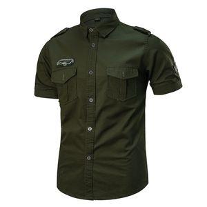Summer Mens Short Sleeve Lapel Cardigan Military Shirts Outdoor Hiking Fishing Climbing Training Breathable Tactical Shirt Tops