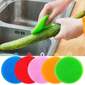 Pot de légume de silicone multi-fonction de torchon de silicone brosses de nettoyage outils de nettoyage de cuisine réutilisables torchons de vaisselle tampon à récurer tasse tapis
