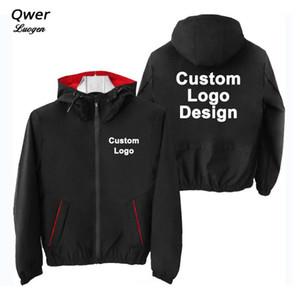 Logo Autunno Inverno Custom Design uomini incappucciati del rivestimento della Corea di stile DIY Stampa Zipper cappotto del maglione di modo unisex Giacche Outdoor