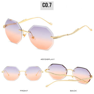 Sem moldura SUNGLASSE sem moldura óculos de sol para homens e mulheres Moda Óculos de sol Irregular invertido óculos de prescrição óculos online KLk5