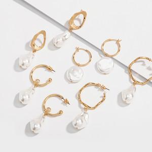 pzmycs multiple Corée Simulé perle Boucles d'oreilles pour les femmes Minimaliste élégant oreilles perle irrégulière Bijoux