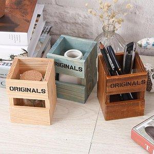 Nuevos titulares creativos Retro Pluma de madera Oficina de la Escuela Los estudiantes Lápiz de almacenamiento de escritorio titular LZ1115 caja de regalo