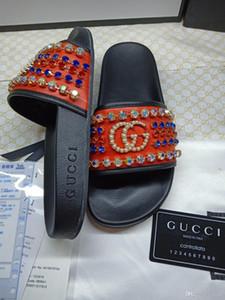 Diamantes de calidad superior Diapositivas de estilo de hombre y mujer sandalias Medusa Scuffs causal verano chanclas zapatillas zapatos para hombre con caja 35-46