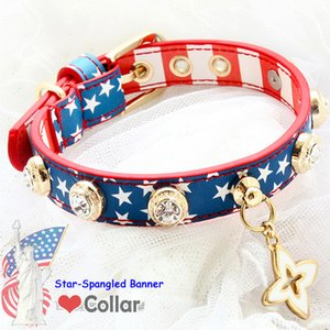 Dog collar dog leash set pet accessories America The Star-Spangled Banner handmade cowhide real calfskin leather cow leather