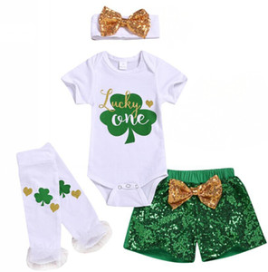 St Patricks Day Baby Girls Boys Outfits Clothes Clover Romper Tops+Sequins Shorts Set 4Pcs 0-18M