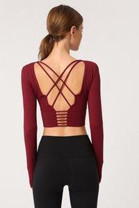 Sport T-shirt rouge net nouveau remise en forme T-shirt de costume LU-35 couleur unie belle yoga ceinture mince dos vêtements T-shirt femme manches longues avec la poitrine