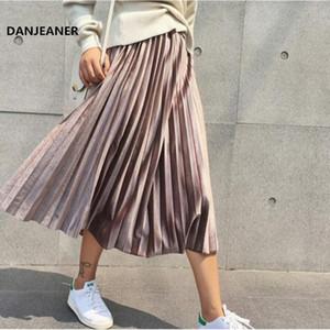 Danjeaner Printemps 2019 Femmes Long Argent métallisé Maxi Jupe plissée Jupe mi-longue taille haute Elascity Party Casual Jupe Vintage SH190824