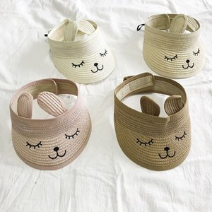 Cat Childrens verão vazio Top Straw Hat coreana Sombra Casual Sunscreen Beach Sun Hat Pet Shop Início Jardim