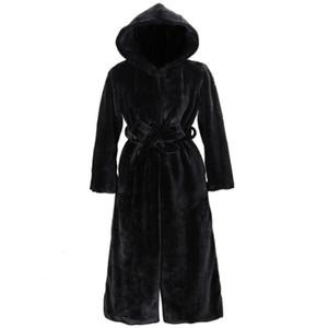 ETOSELL Schwarz-Pelz-Mantel-Frauen Thick Winter-beiläufige feste dünne Outwear lange Art Plüsch-Pelz-mit Kapuze warmer Mantel