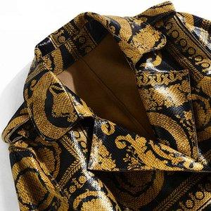 Novità del 2020 Han Zi Qian autunno Runway cappotto lungo manica lunga epoca della cinghia della stampa del modello luminoso cappotto di trincea di cuoio