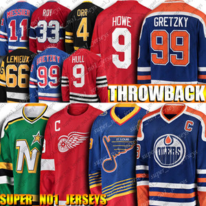 Throwback Edmonton Oilers Wayne Gretzky Jersey Bobby Hull Jersey Patrick Roy Gordie Howe Bure Bobby Orr Lemieux Vintage Hockey sur glace Maillots