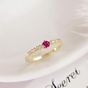 Luce 14k lussuoso anello di oro Piccolo fresca Set di zirconio elettrodo Snella Anello Donna Student Anello