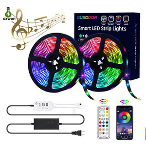 LED Strip Lights Kit 16.4ft 32.8ft 30LEDs M SMD5050 Bluetooth Music Sync with 24Keys Remote Home Party Rope RGB Tape Light