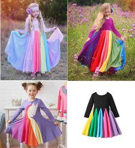 New Kids filles Vêtements robes à manches longues arc-en-robe de princesse fille automne printemps élégante robe de fille douce