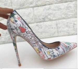 2019 new Coloured Fish Scale printing High-heeled Shoes Tip Fine-heeled Shallow-mouthed Single Shoes large size 44 nightclub 8cm 10cm 12cm