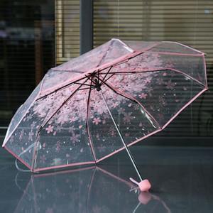 100pcs / lot transparenter freier Schirmgriff Winddichtes 3 Falten Umbrella Kirschblüten Pilz Apollo Sakura Frauen des Mädchens Regenschirm