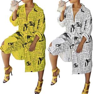 Tasarımcı Yeni Uzun Kadın Bluz Gömlek Elbise Gazetesi Baskılı Uzun Kollu Aşağı Boyun Kadınlar Streetwear Tops çevirin