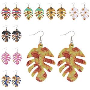 Pelle Girasole PU Fishbone orecchini per le donne colorata estate Girasoli modello Leather Teardrop orecchini monili d'avanguardia regalo