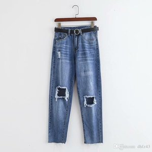 Hot purchase QQ53 -1993 European and American fashion jeans with holes in waistband