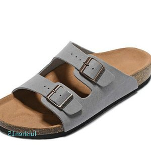 Men's Flat Sandals Women Casual Shoes Double Buckle Arizona Summer Beach Top Quality Genuine Leather Slippers With Orignal l15