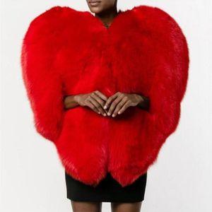 Vender Hot Mulheres imitação de peles Coração vermelho do amor 3D em forma de xale Faux Fox Fur Quente Brasão 2019 Outono / Inverno Mulheres Moda roupas de alta qualidade