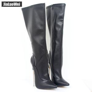 """Estilo atractivo de la manera jialuowei 7"""" Extreme botas de tacón alto de las mujeres de la rodilla-alta talones Zip de metal delgada atractiva del fetiche zapatos más el tamaño 36-46"""