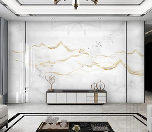Fond d'écran 3D simple et moderne paysage marbre or blanc jazz Papiers peints Salon Chambre Maison décorations pour les murs Papiers