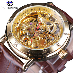 Forsining Retro Roman Number Brown Leather Royal Flower Mechanical Skeleton Transparent Mens Automatic Watches Top Brand Luxury