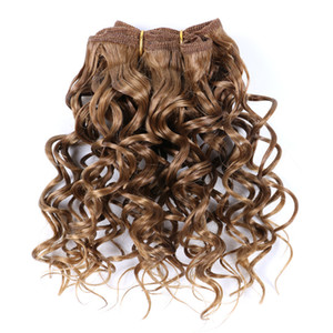 Afro Kinky Curly 8 Inch Synthetic Hair Weave Bouncy Jerry Curl Natural Short Hair Welf Bundles Black Hair Weaving 3Pcs lot