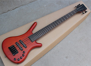 5 Strings Red Brown Electric Bass with 26 Frets.Rosewood Fingerboard,Neck Through Body,Active Circuit,Can be Customized As Requested