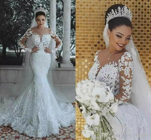 Modern 2020 White Romantic Gorgeous Long Sleeve Mermaid Wedding Dresses Beading Lace Princess Bridal Gown Custom Made Appliques See Through
