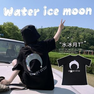 2020 summer new girls heavy industry hot stamping T-shirt geomancy ice moon loose short sleeve casual top