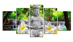 Unframed 5 Painel Flor Cachoeira Fundo Pintura de Buda Fengshui Canvas Art Wall Pictures para Sala de estar