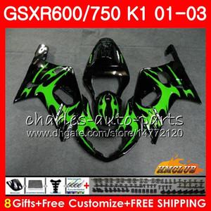 8 Cuerpo de regalo para SUZUKI GSXR600 GSX R750 K1 GSXR-600 GSX-R750 4HC.40 GSXR750 GSXR 600 750 01 02 03 2001 2002 2003 Green flames Fairing kit