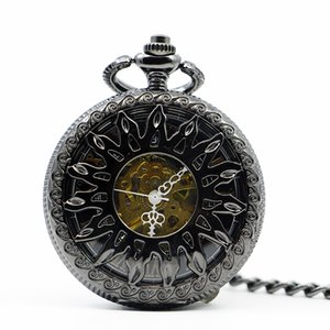 Vintage Sun Flower Hollow Mechanical Pocket Watch Men Antique Skeleton Hand-winding Fob Watch Chain PJX1223