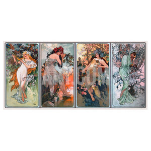 BEER AD BY MUCHA, C by Alphonse Mucha Oil paintings hand painted art modern woman image for bathroom