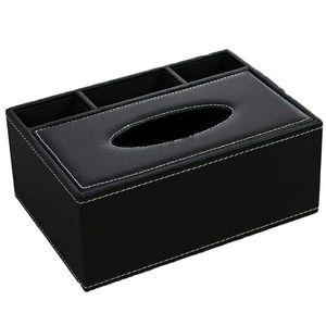Практичный Бутик Кожа Tissue Box Держатель Дистанционного Управления Многофункциональный Настольный Органайзер Карандаш Ножницы Контейнер (Черный)